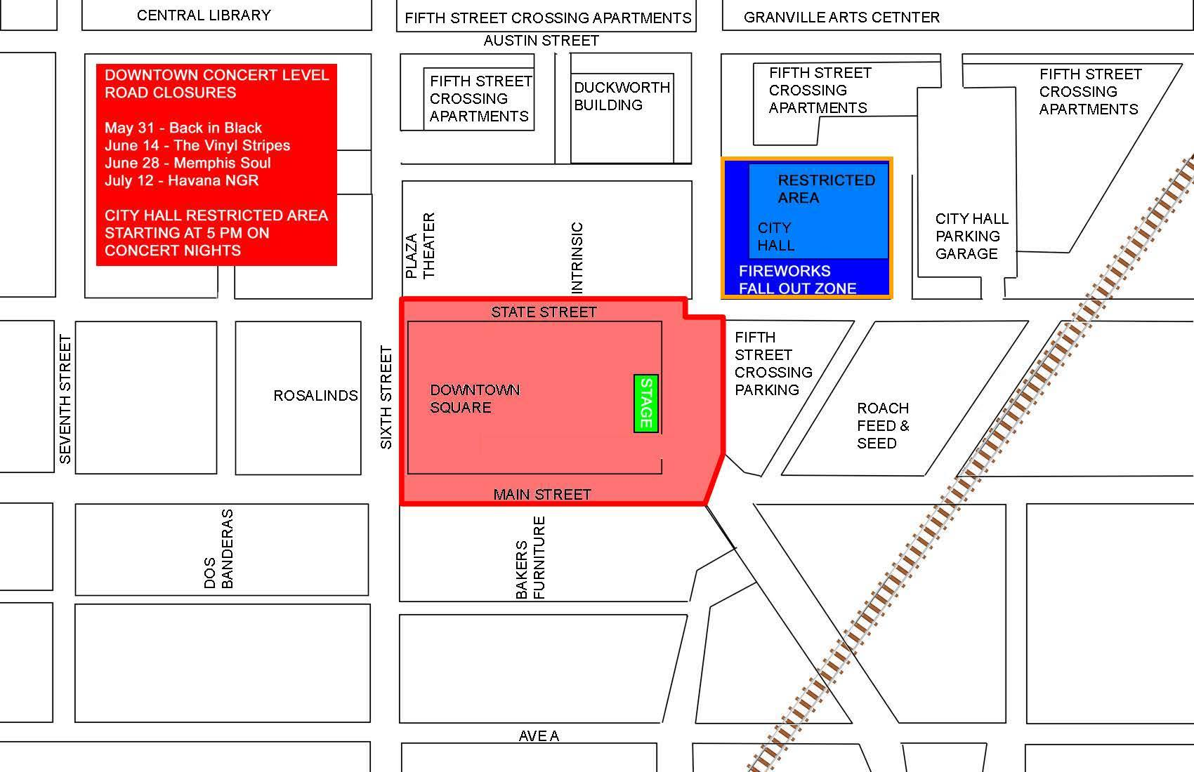 Downtown Garland street closure map