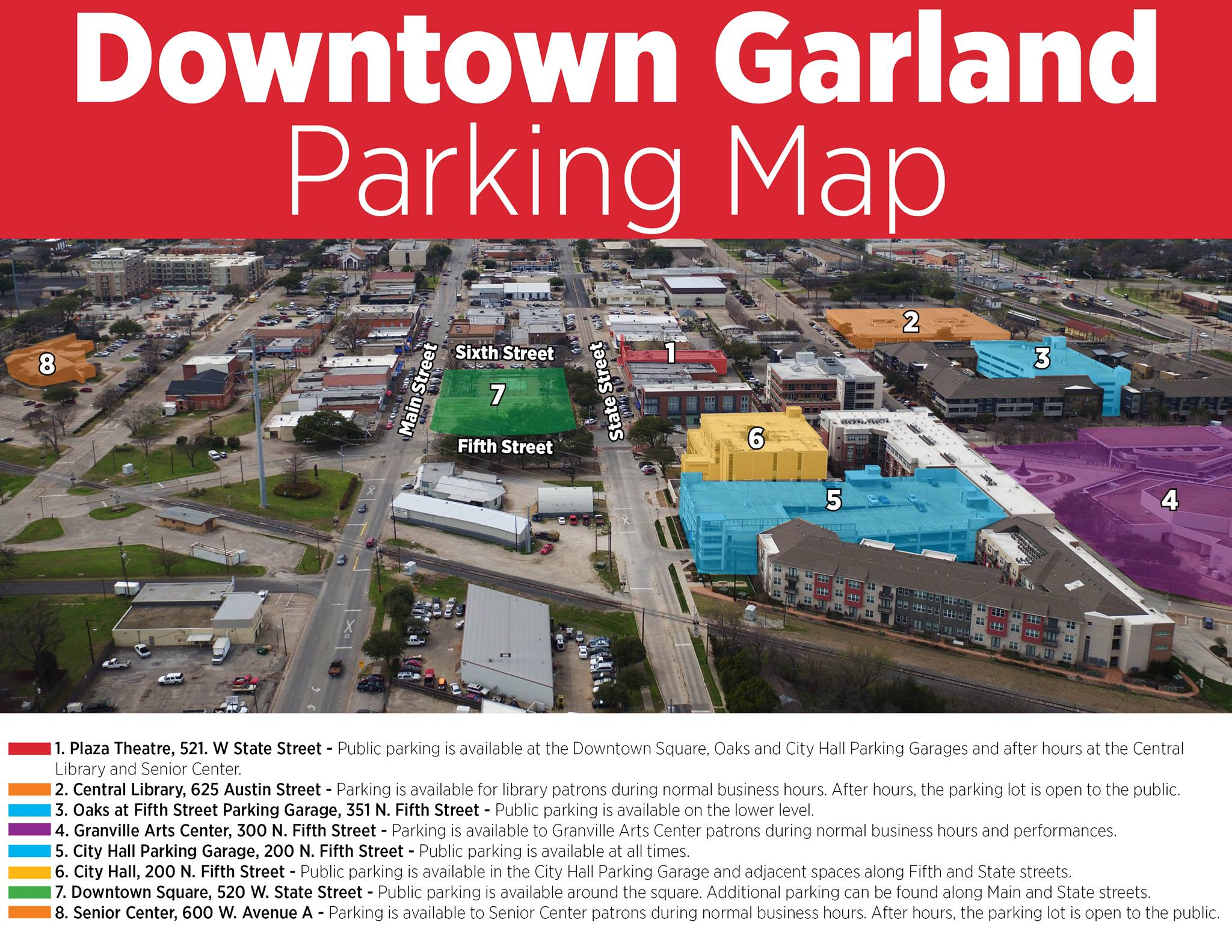 Downtown Garland Parking Map
