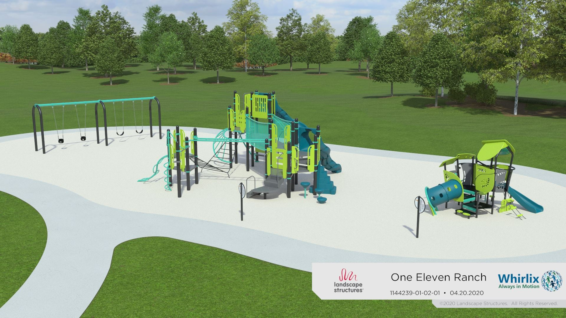 One Eleven Ranch Park Playground with swings and slides that are teal and neon yellow, the entrance