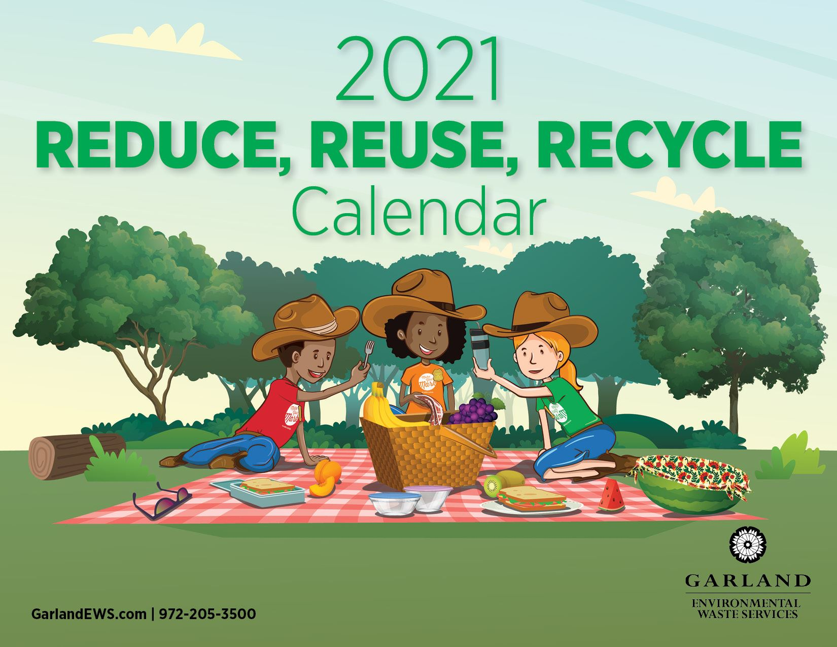 Front page of 2021 Reduce, Reuse, Recycle Calendar